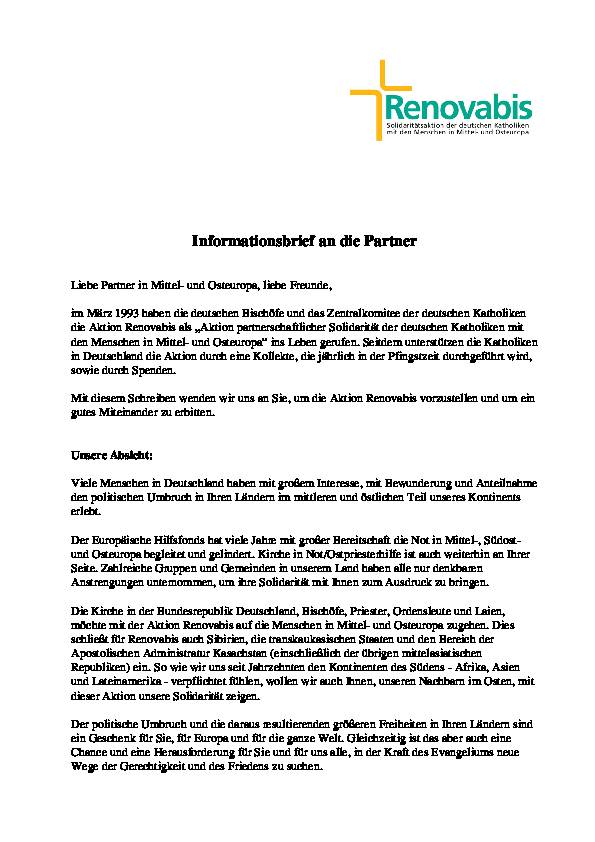 Infobrief für Partner deutsch